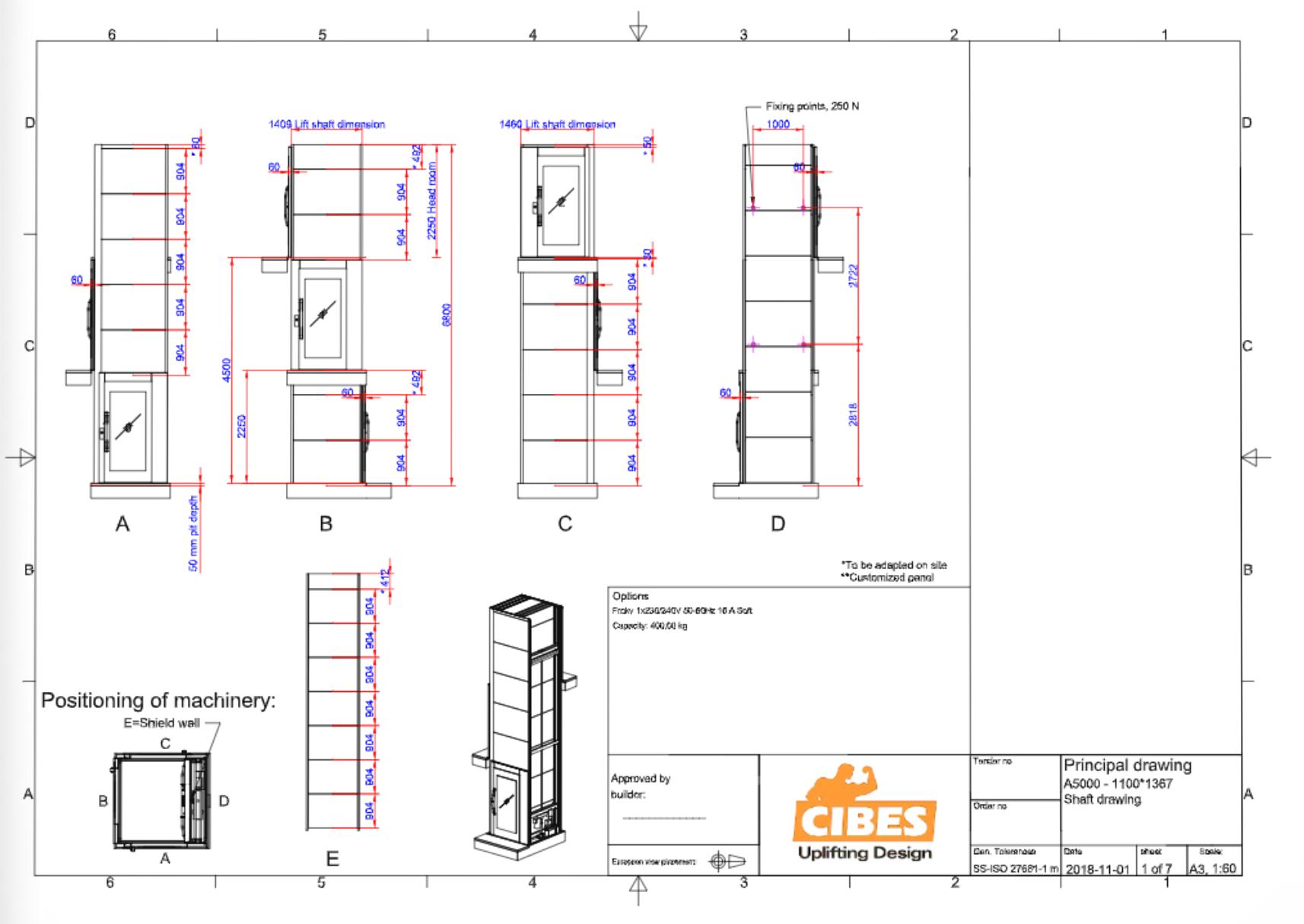 Cibes lift Size L2 1100x1400