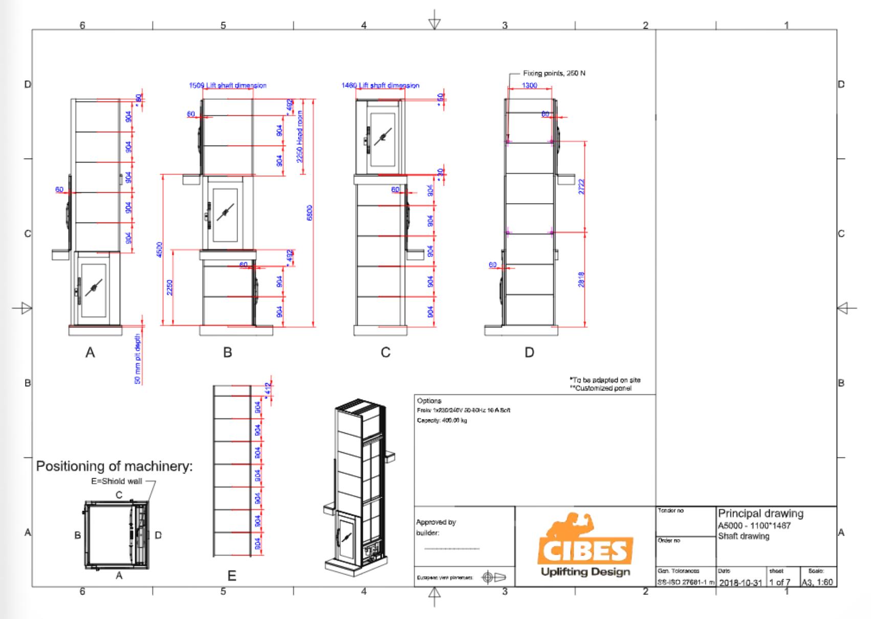 Cibes lift Size L4 1100x1500