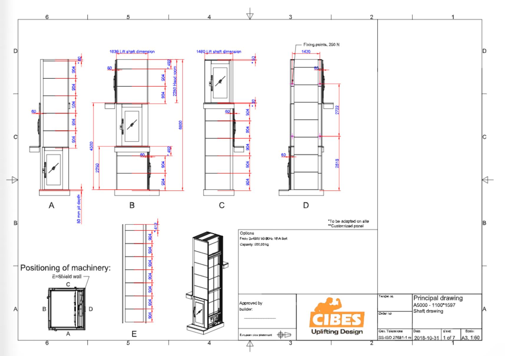 Cibes lift Size XL 1100x1600